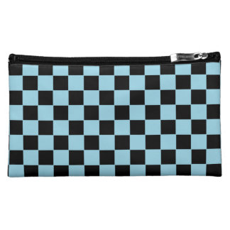 black and blue checkered pattern makeup bag