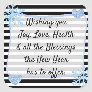 Black and Blue Christmas Blessings Stickers