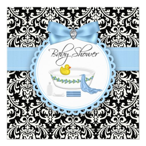 Black and Blue Damask Bath Time Baby Shower Custom Invite