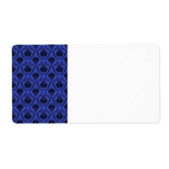 Black and Blue Damask Design Pattern.