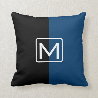 Black and Blue Dual Tone Monogram Throw Pillow