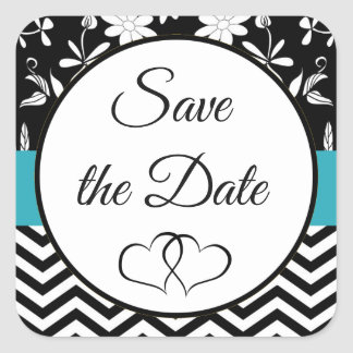 Black and Blue Floral Save the Date Stickers