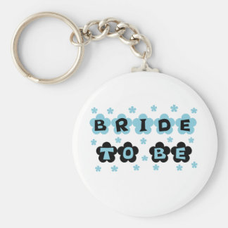 Black and Blue Flowers Bride to Be Key Ring