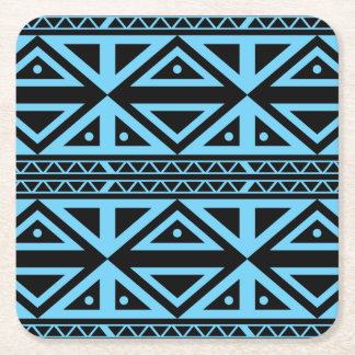 Black and Blue Geometric Pattern Coaster