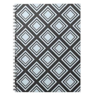 Black and Blue Geometric Printed Spiral Notebooks