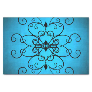Black and blue hearts and swirls tissue paper