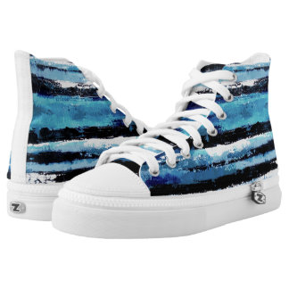 Black and Blue High Top Sneakers