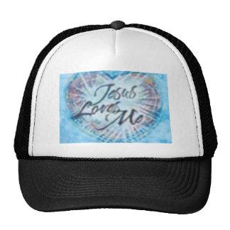 Black and Blue Jesus Loves Me B-Ball Cap Hat