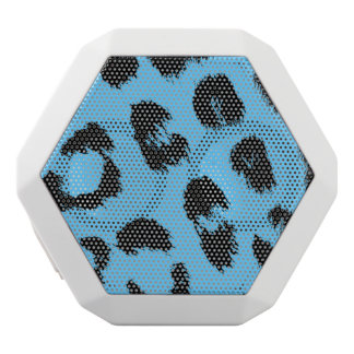 Black and Blue Leopard Spots White Bluetooth Speaker