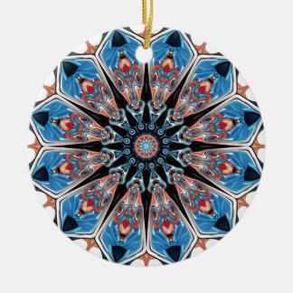 Black And Blue Mandala Ceramic Ornament