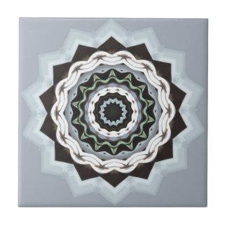 Black and Blue Mandala Ceramic Tile