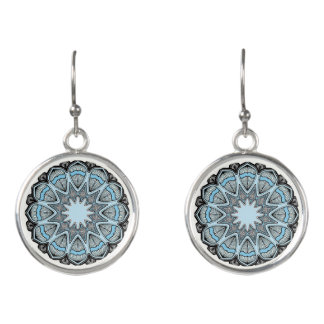 Black and Blue Mandala Dangling Earrings