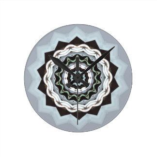 Black and Blue Mandala Round Clock