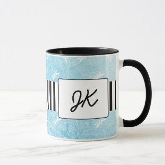 Black and Blue Monogrammed Dragonflies Coffee Mug