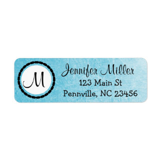 Black and Blue Monogrammed Return Address Labels