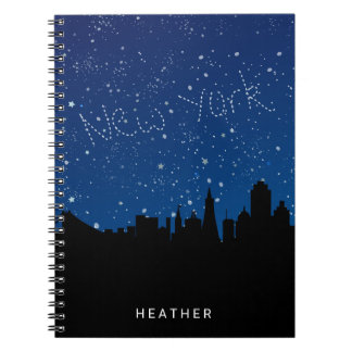 Black and Blue, Night Sky, NYC, Monogram Spiral Notebooks