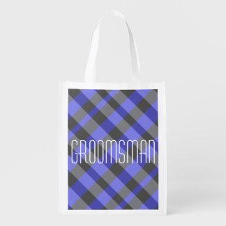 Black and Blue Opaque Plaid Groomsman Bag