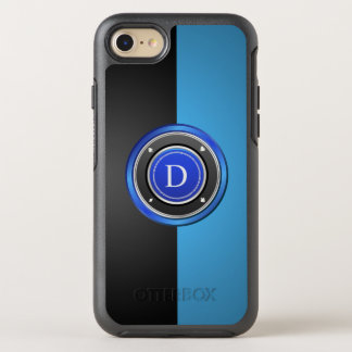 Black and Blue Poker Chip with Your Monogram OtterBox Symmetry iPhone 8/7 Case