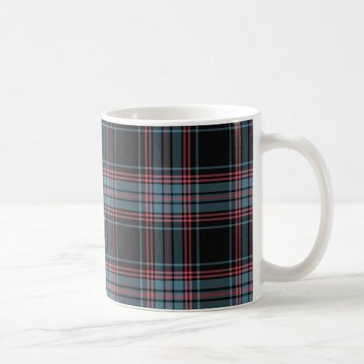 Black and Blue Retro Grunge Plaid Coffee Mug