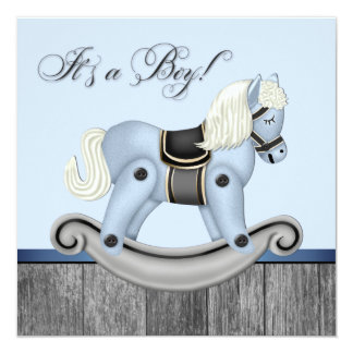 Black and Blue Rocking Horse Baby Shower 13 Cm X 13 Cm Square Invitation Card