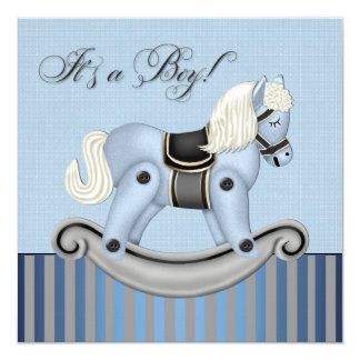 Black and Blue Rocking Horse Baby Shower Card