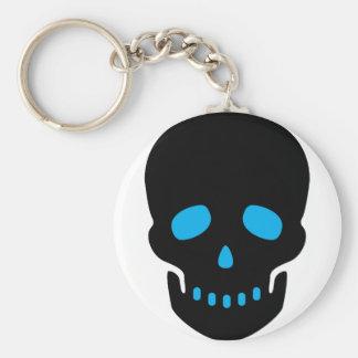 Black and Blue Skull Basic Round Button Key Ring