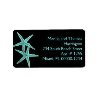 Black and Blue Starfish Custom Address Labels