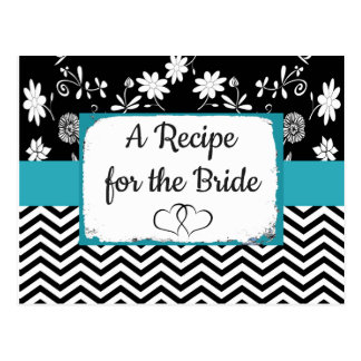 Black and Blue Striped Floral Wedding Recipe Card