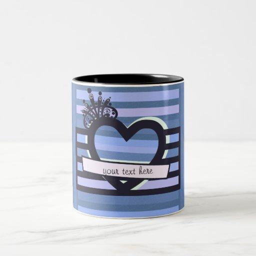 black and blue stripes mug