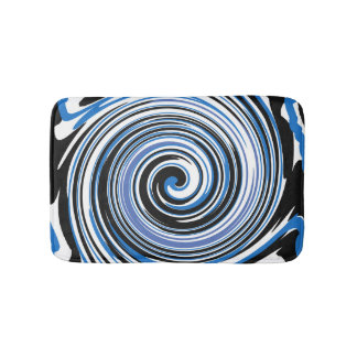 Black and blue swirl pattern bath mats