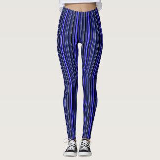 Black and Blue Tiny Stripe Slimming Leggings
