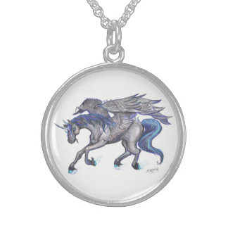 Black and Blue Unicorn with wings Sterling Silver Necklace