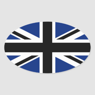 Black and Blue Union Jack Oval Sticker