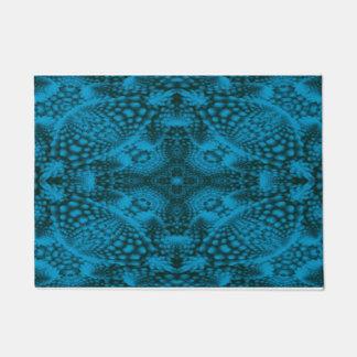 Black And Blue  Vintage Kaleidoscope  Door Mat