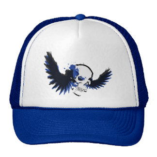 Black and Blue Winged Skull Cap