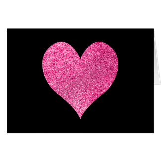 Black and Bright Pink Glitter Heart Thank You Card