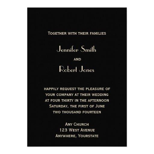 Black and Bronze Art Deco Tower Wedding Invitation