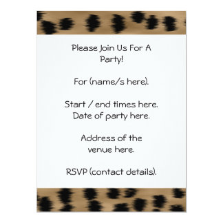Black and Brown Cheetah Print Pattern. 17 Cm X 22 Cm Invitation Card