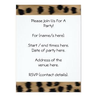 Black and Brown Cheetah Print Pattern. 17 Cm X 22 Cm Invitation Card