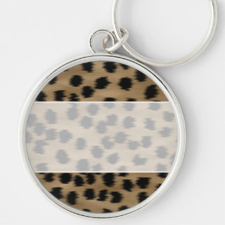 Black and Brown Cheetah Print Pattern. Silver-Colored Round Key Ring