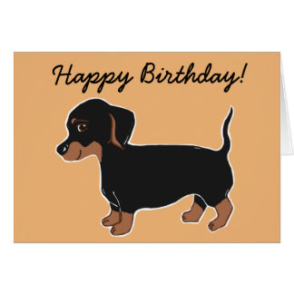 Black and Brown Dachshund Happy Birthday Card