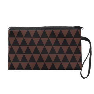 Black and Brown Geometric Triangles Wristlet