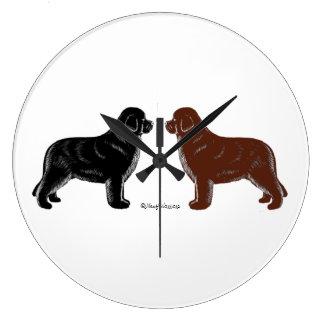 Black and Brown Newfoundland Dog Wall Clock