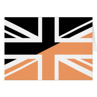 Black and brown Union Jack British(UK) Flag Greeting Cards