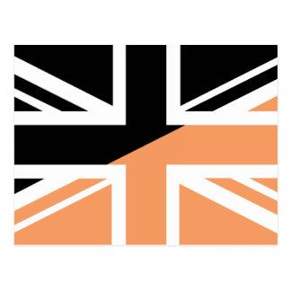 Black and brown Union Jack British(UK) Flag Post Card