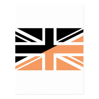 Black and brown Union Jack British UK Flag Post Card