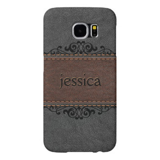 Black And Brown Vintage Leather Samsung Galaxy S6 Cases