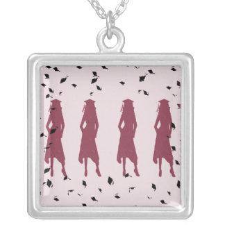 black and burgundy grad girls square pendant necklace