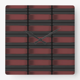 Black and Burgundy Square Wall Clock