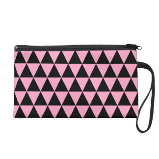 Black and Carnation Pink Geometric Triangles Wristlet